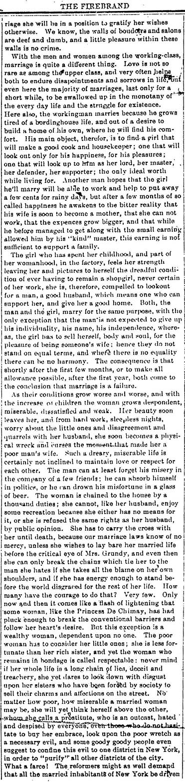 marriage in emma essay Emma goldman 1914 marriage and love source: emma goldman's anarchism and other essays marriage protecting the child.