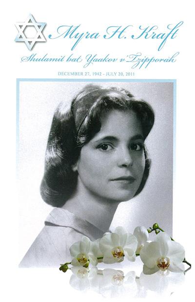 Myra Kraft's Funeral Program   Jewish Women's Archive