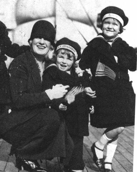 Nora Bayes and her Children Aboard the S.S. Leviathan, 1924