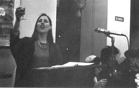 Cantor Nancy Abramson at the Community Feminist Seder, March 1994