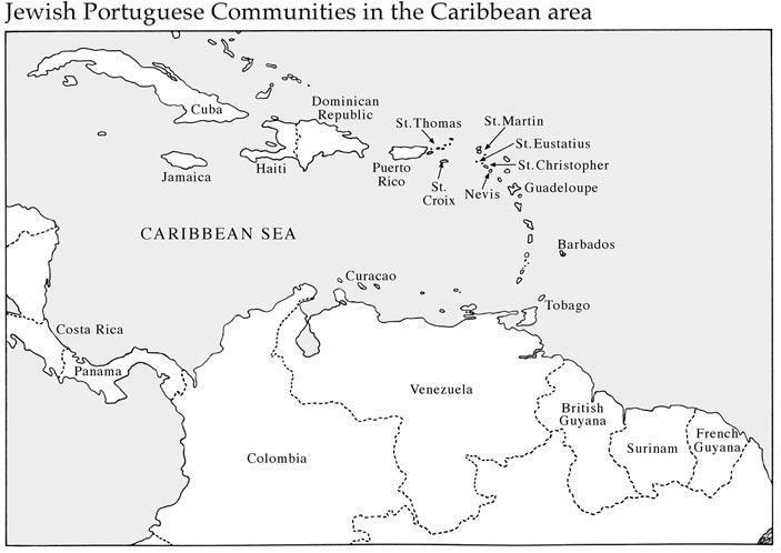 Map of the Jewish Communities in the Caribbean Island Region