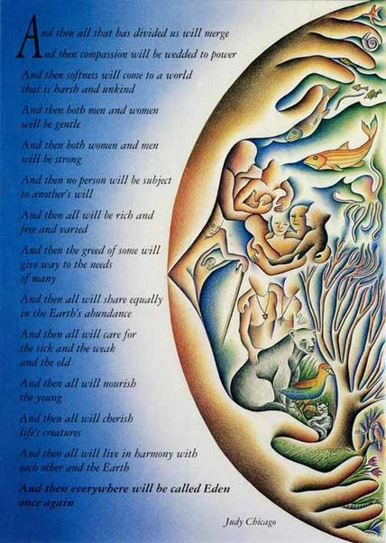 """Merger Poem Poster"" by Judy Chicago, 1988"