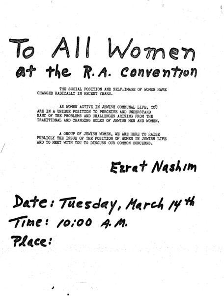 Ezrat Nashim flyer to women at RA convention
