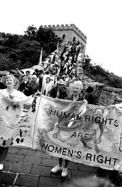 Women from an NGO Forum on Women at the Great Wall of China, 1995