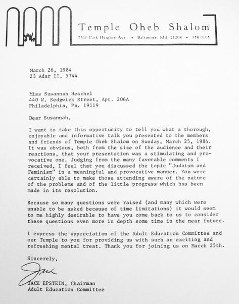 Letter from Jack Epstein to Susannah Heschel, March 26, 1984