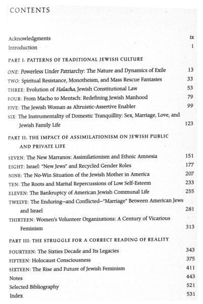 Jewish Women, Jewish Men: The Legacy of Patriarchy in Jewish Life TOC