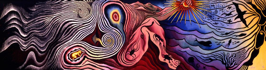 "Image of ""The Creation"" from the ""Birth Project,"" by Judy Chicago"