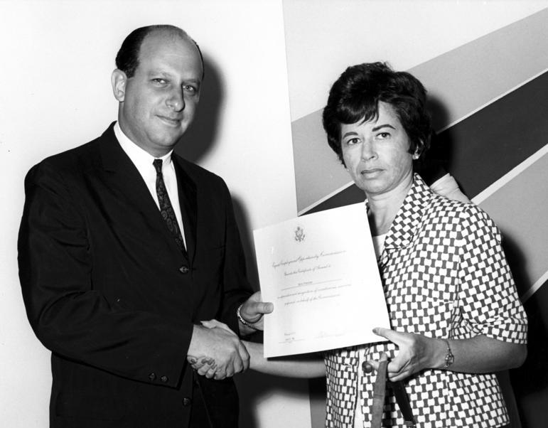 Photograph of Sonia Pressman Fuentes receiving EEOC Superior Performance Award