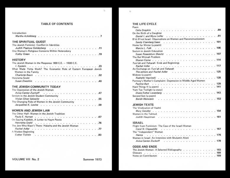 """Response: A Contemporary Jewish Review"" Table of Contents, by Rachel Adler, summer 1973"