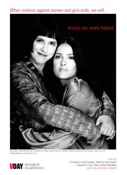 V-Day Public Service Announcement featuring Eve Ensler and Salma Hayek