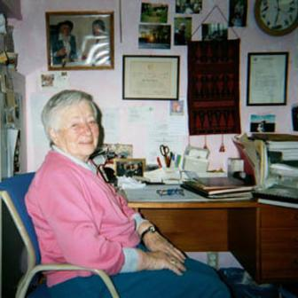 Gertrude Webb in her office at the Webb International Center for Dyslexia