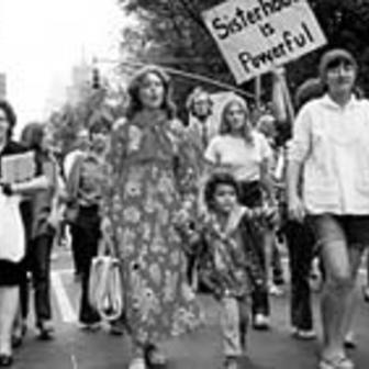 Trudy Orris at a feminist march