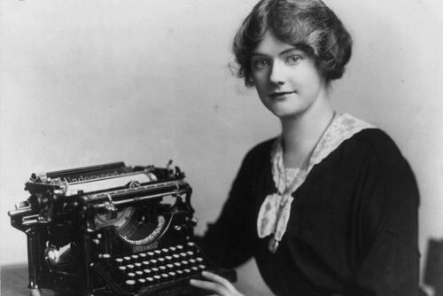 Woman with Underwood Typewriter circa 1918, cropped