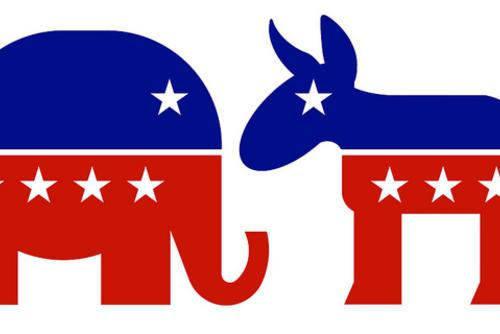 Republican Elephant and Democrat Donkey