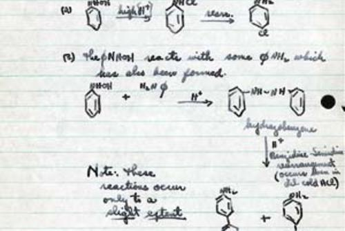 Excerpt from Gertrude Elion's college chemistry notebook