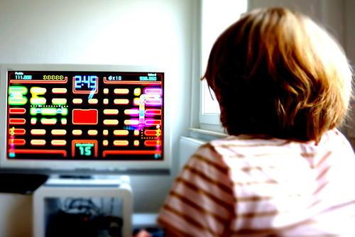 Girl Playing Pac-Man