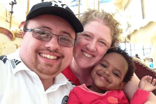 Rabbi Tziona Szajman, Timothy Olivieri, and Daughter Eliyana