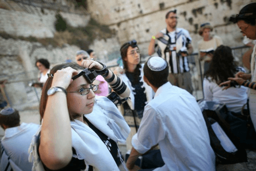 Girl with Tefillin at Kotel