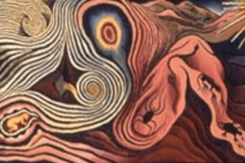 "Cropped Excerpt of ""The Creation"" by Judy Chicago"
