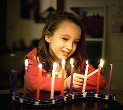 A Child Lighting Candles