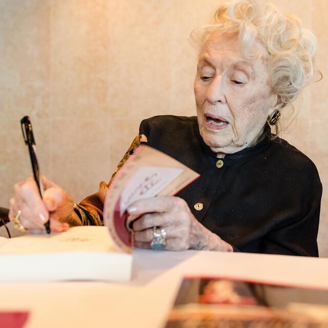 Bel Kaufman Signing Books at JWA Event, 2013