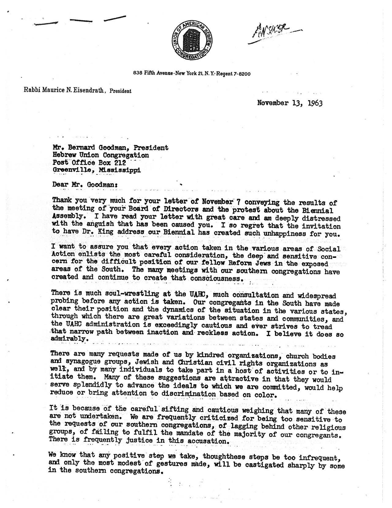Letter from Rabbi Eisendrath to Bernard Goodman, November 13, 1963, page 1 of 2