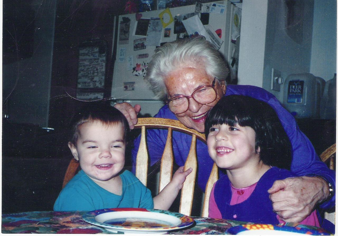 Elsie Frank with grandchildren