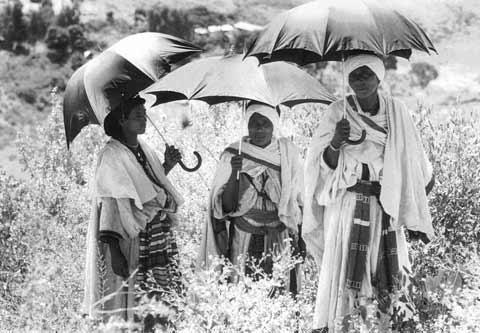 Women Holding Umbrellas and Celebrating Sigd in Ambover, Ethiopia
