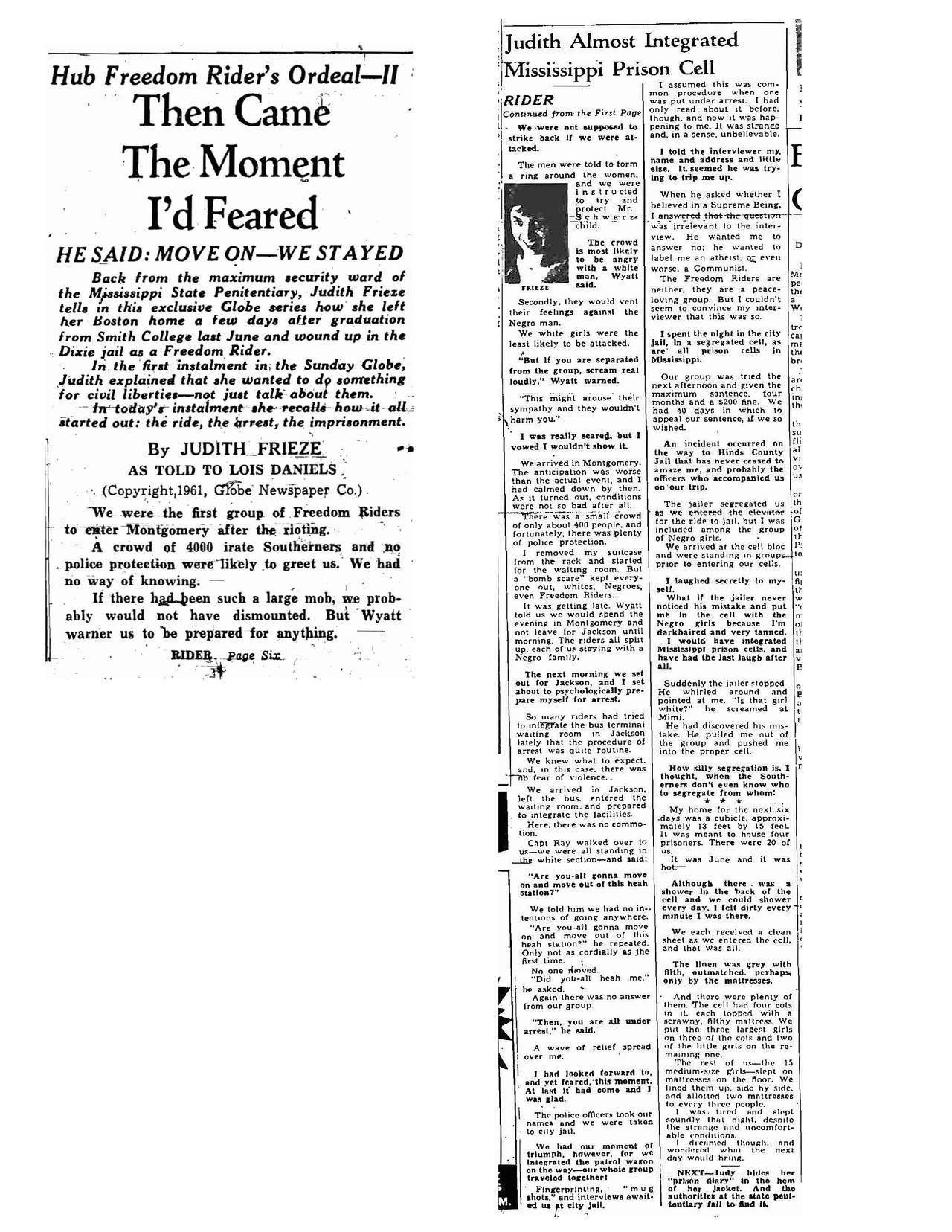 Newspaper clipping of Judith Frieze article from the Boston Globe