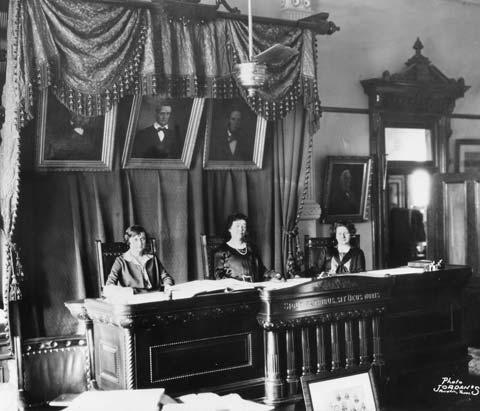 Hattie Henenberg, Hortense Ward, and Ruth Brazzil in the the Texas Supreme Court, 1925
