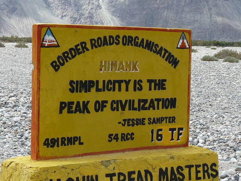 Jessie Sampter Quotation on Himank BRO Sign, Nubra Valley, India