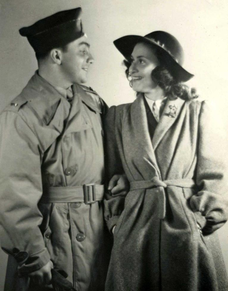Denise and Stanley Schorr after the liberation of Paris