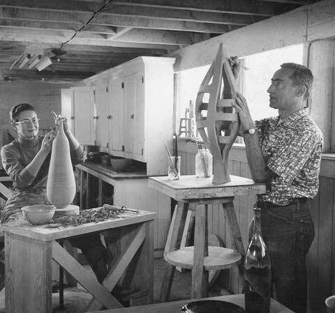 Gertrud and Otto Natzler at their Brandeis Camp Studio circa 1956-1960