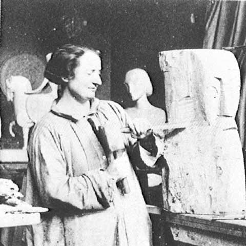 Chana Orloff Working in the Studio