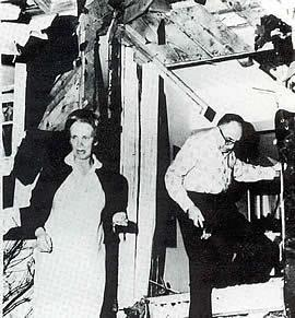 Rabbi Perry Nussbaum and wife after bombing of their home
