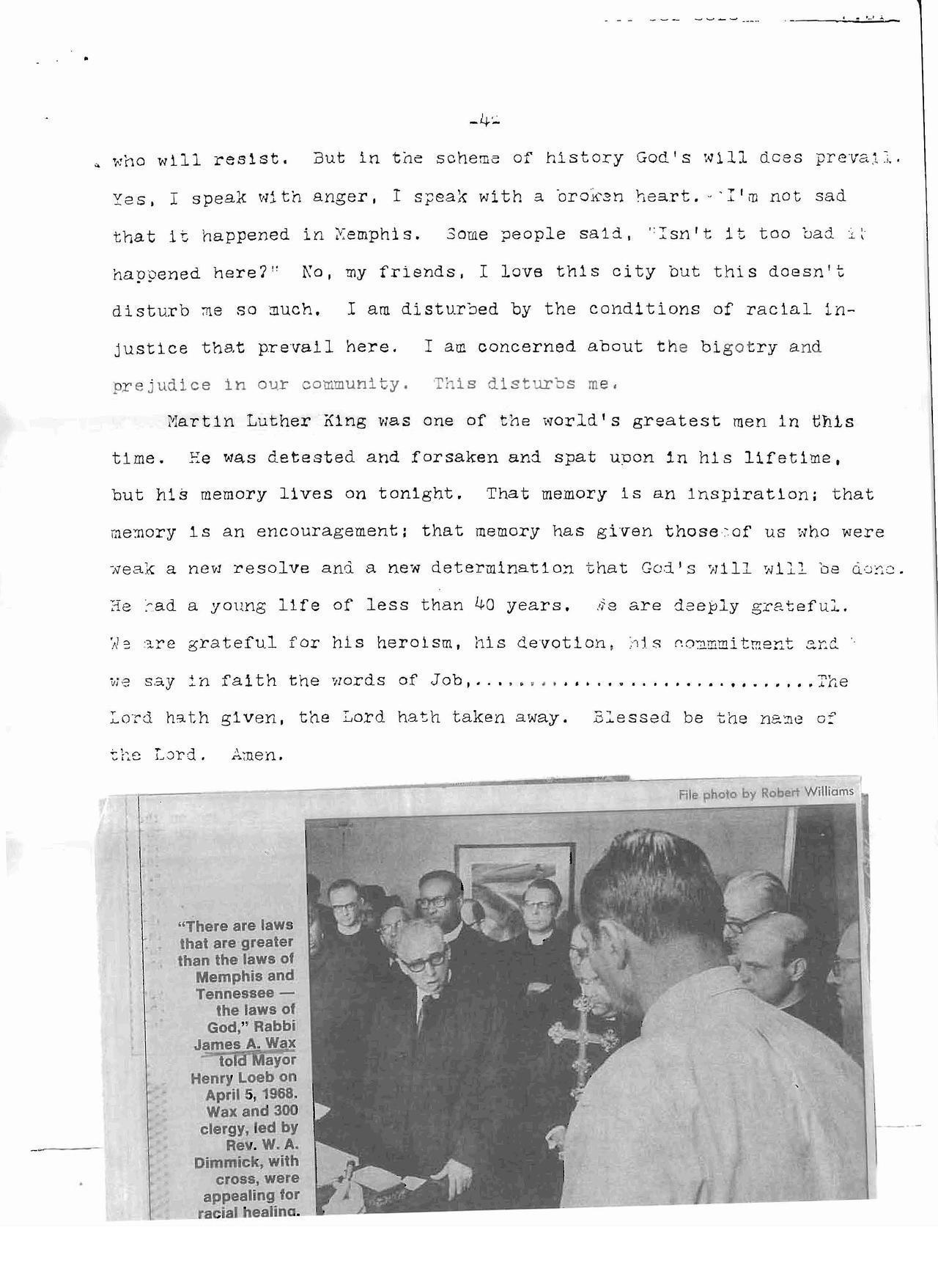 Rabbi Wax Sermon on Martin Luther King, Jr., April 5, 1968