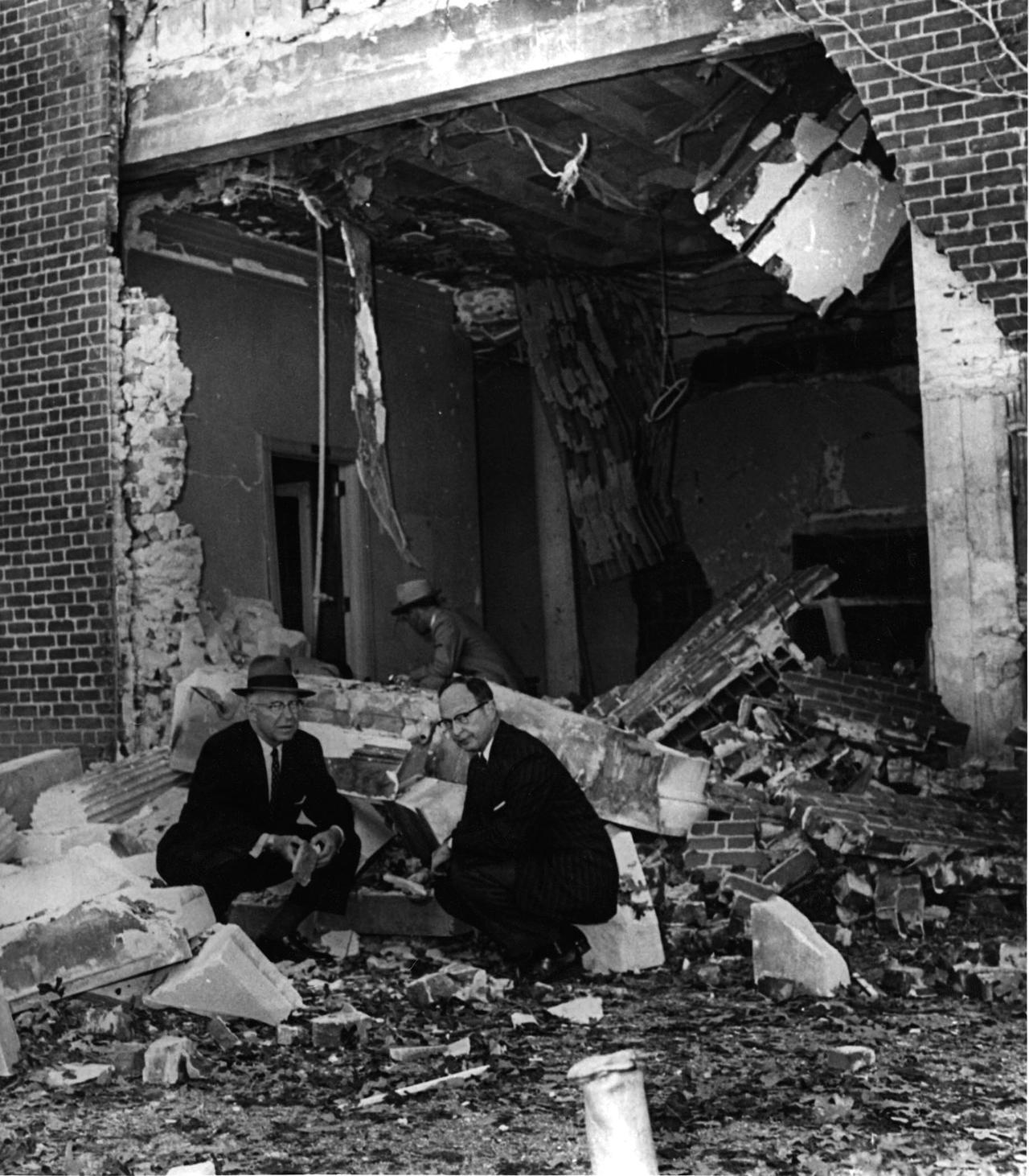 Mayor William Hartsfield with Rabbi Jacob Rothschild After the Bombing of The Temple, Atlanta, Georgia, October 15, 1958