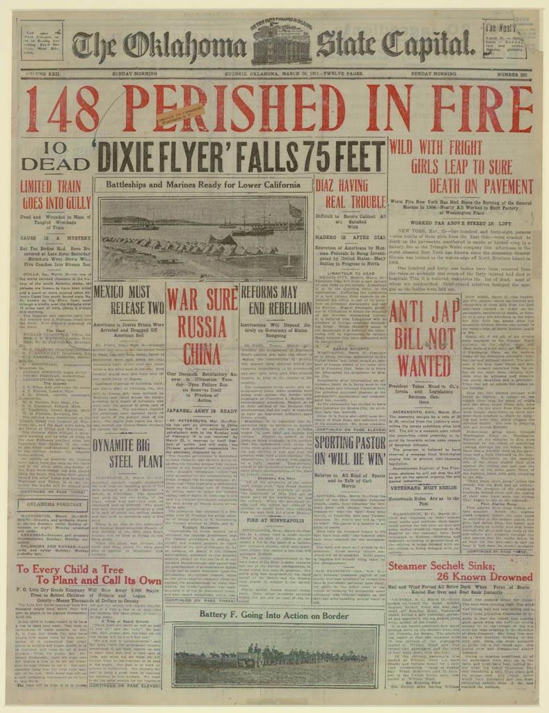 Triangle Fire Headline, Oklahoma State Capital, Mar 26, 1911
