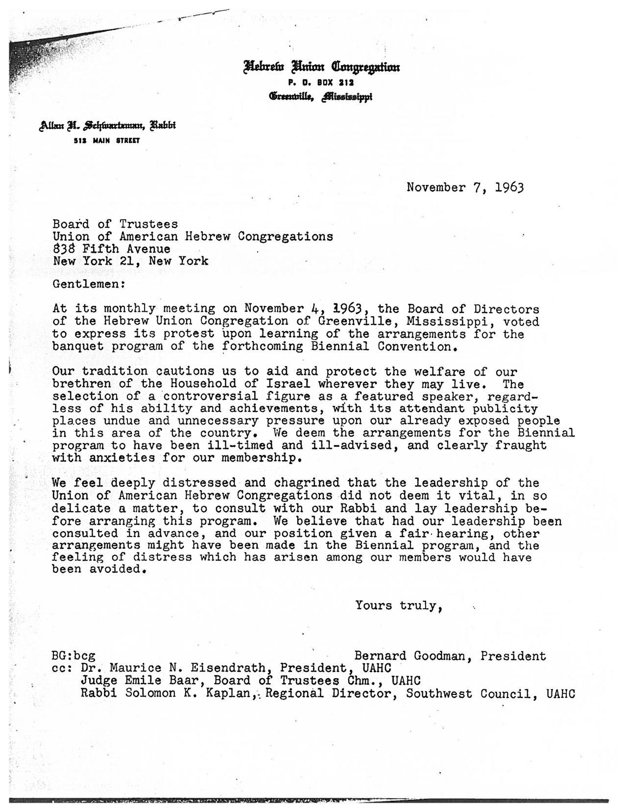 Letter from Hebrew Union Congregation to the Union of American Hebrew Congregations, November 7, 1963
