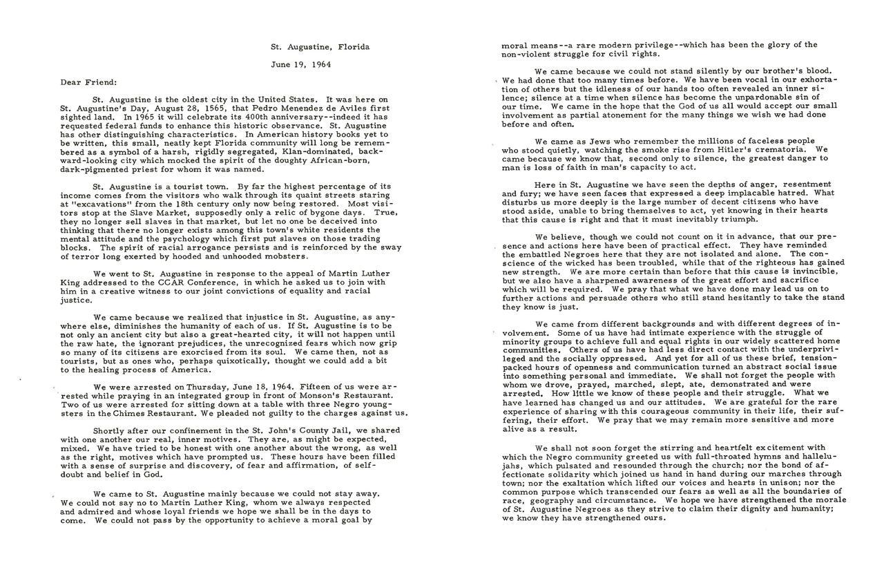 Why We Went: A Joint Letter from the Rabbis Arrested in St. Augustine, page 2 of 3