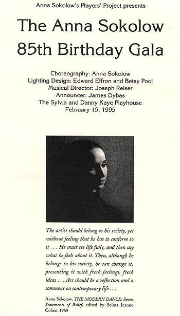 Program from the Anna Sokolow 85th Birthday Gala