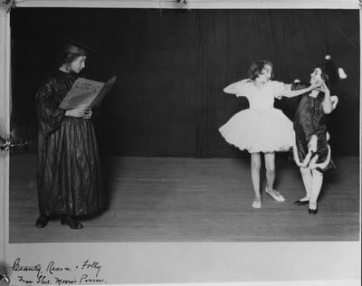 Elsa Pohl, Anna Sokolow (center), and unknown dancer as 'Beauty, Reason and Folly' at the Emanuel Sisterhood