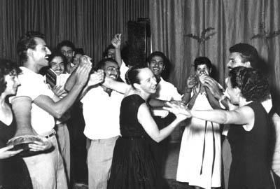 Anna dancing with members of Israel's Inbal Dance Theatre