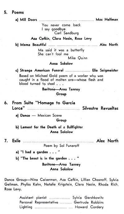 Program for performance of Sokolow and her group at New York's 92nd Street Y