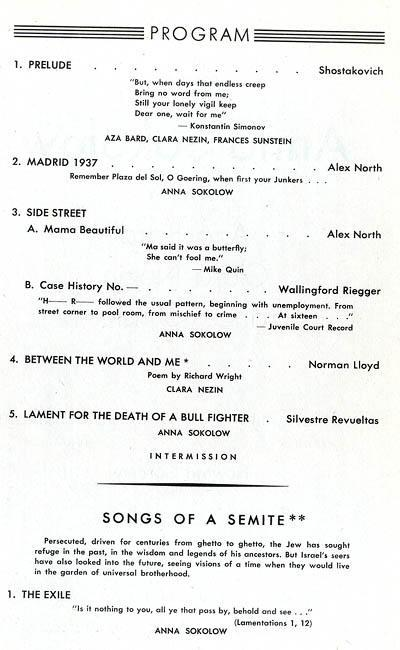 "Program for performance of ""Songs of a Semite"" at New York's 92nd Street Y"