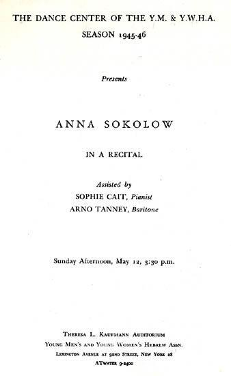 Program for recital by Sokolow at New York's 92nd Street Y