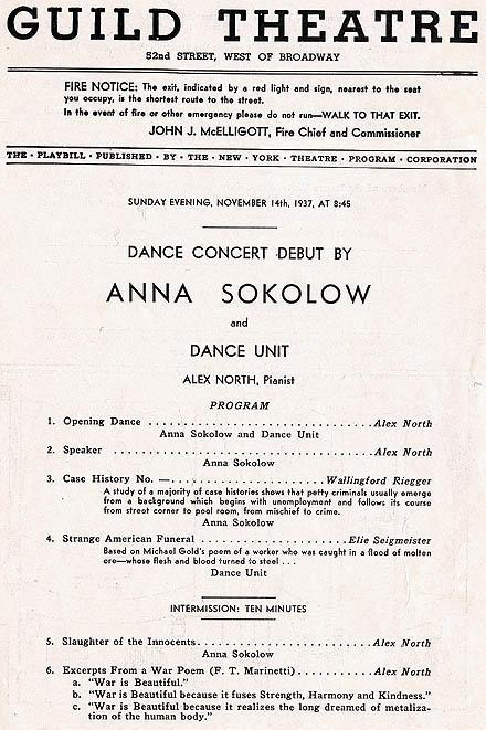 Program from Sokolow's official Broadway debut