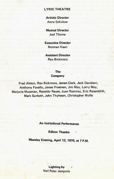 Program for performance by Anna Sokolow's Lyric Theatre