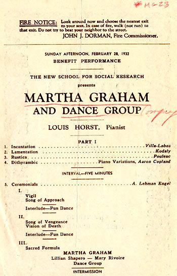 Program for performance by Martha Graham's company