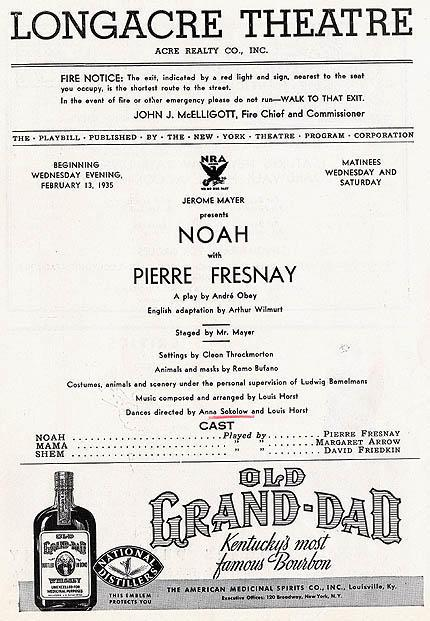 "Program for Longacre Theatre's production of ""Noah"""